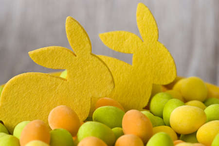 felt easter bunnies and colorful eggs Stock Photo - 6550602