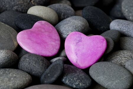 pink stone hearts and gray pebble Stock Photo - 6550603