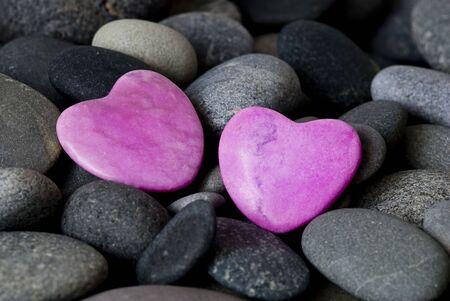 pink stone hearts and gray pebble Stock Photo - 6550603