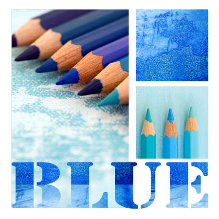 collage with text and blue pencils Stock Photo - 9832275