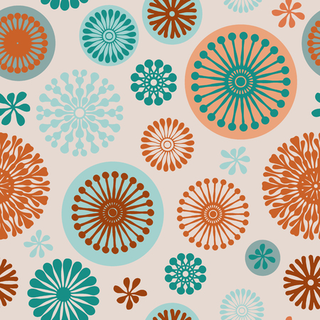 purple abstract floral elements seamless pattern background on off white with turquoise, purple and orange, perfect for fabric, wallpaper, scrapbooking and fashion