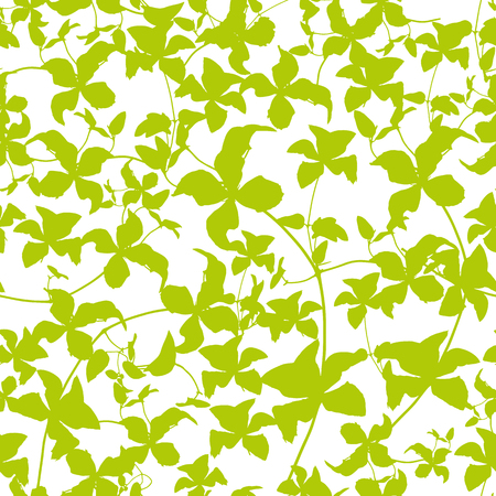 design of green vines with leaves seamless pattern background
