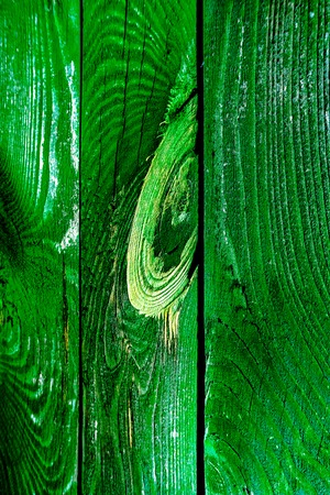 Vertical wooden old planks with parts of cracked paint and big knot as peace of heart toned to juicy green emerald color. Vintage wooden texture, toned to green wooden planks as art background.