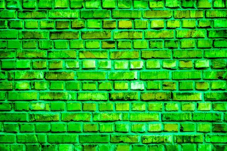 old different sizes red brick wall with cracked parts and light spots with some shadows as background. Colorful brick wall pattern, painted bricks as urban texture Stock Photo