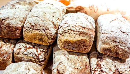 freshly baked multigrain dark bread Stock Photo