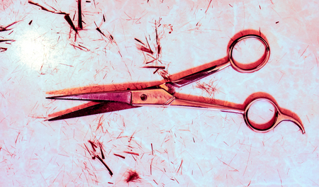 red metal single open silver hair cutting shears against small spots of dark cutting hair and many small filaments on the table after haircut. Work still life of hairdresser Stock Photo