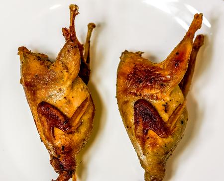 brązowa para przepiórek z chrupiącą skórką na dużym białym talerzu. Kuropatwa prażona, przepiórka grillująca w słoneczny dzień. Kulinarna koncepcja z pysznym jedzeniem.