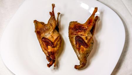 widok z góry na dwa przepiórki z chrupiącym skorupą na dużej białej tablicy. PRoasted Partridge, grillowanie w pogodny dzień. Koncepcja kulinarna z pysznym jedzeniem.