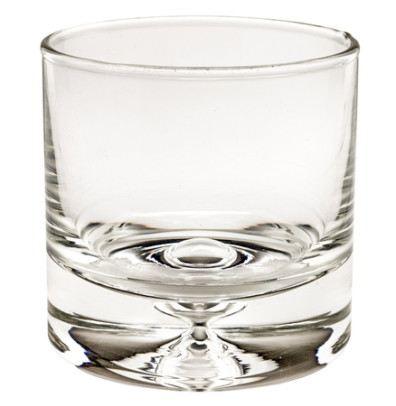 clear glass candlestick on white background. clean glassful with double bottom isolated.