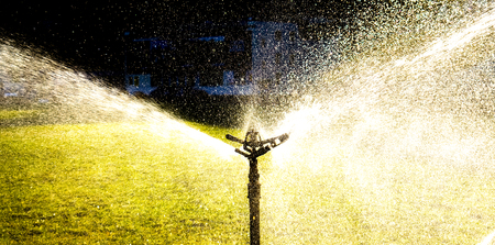 Automatic lawn watering on big field in sunshine and shadows. lawn watering as wings made of water drops. Garden sprinkler on a sunny summer day during watering the green lawn Stock Photo