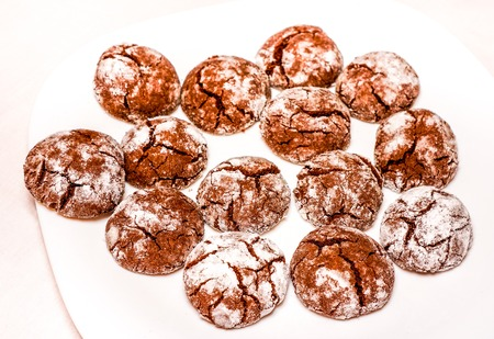 Red velvet crinkle cookies. Fresh hot chocolate cookies with sugar wait eating. Round chokolate homemade cookies as best dessert for kids and adult. Chocolate cookies in powdered sugar as background