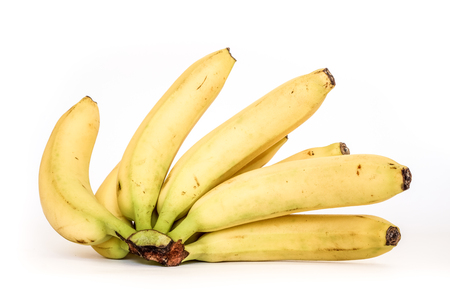 banana skin: back view to black bananas tips on yellow sunny banana ripes. open Bunch of bananas isolated on white background. eight sweet organic fresh bananas in one big brunch.