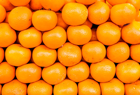 many small sunshine on many circle orange ripes lay one by one as background. texture of orange ripes