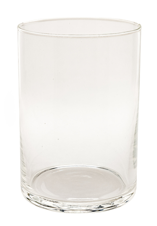 clear glass candlestick on white background. clean glassful isolated. Imagens