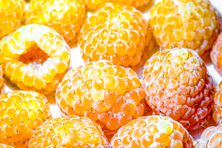 many ripes of yellow raspberry with natural organic white Plaque and antennae on every one. Big round raspberry balls lay one by one on white. A pile of yellow raspberries as sweet summer background.