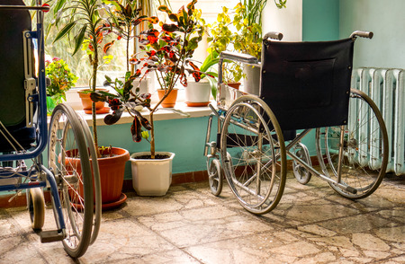 two black hospital wheelchairs stand near window between green flowers in flowerpots at hospital corridor. Empty wheelchair ready for use near a hospital Stock Photo