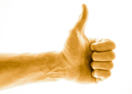 Like concept. Voting hand on blue background. One hand making thumb up gesture. Stock Photo