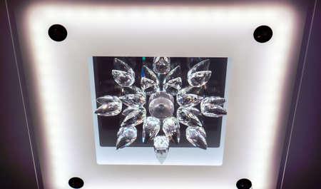 luxury crystal chandelier with working lamps Zdjęcie Seryjne