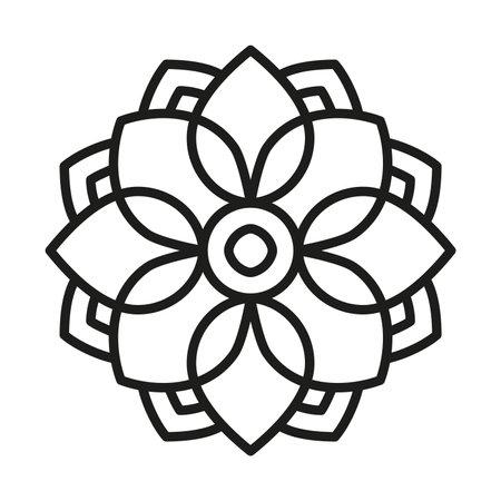 Simple Mandala Shape for Coloring. Vector mandala flower . Floral icon.
