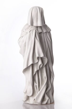 Statue of a French Pleurant. Statue isolated on white background. Stock Photo