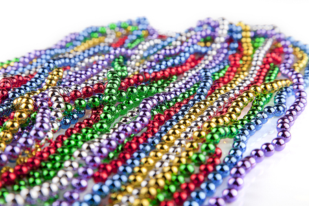 New Orleans Mardi Gras colorful bead necklaces.