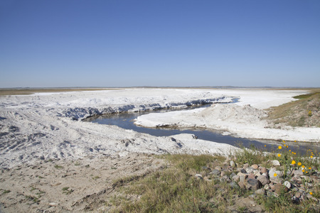 deposition: Fields of natural salt deposits in the prairies of Chaplin, Saskatchewan, Canada. Stock Photo