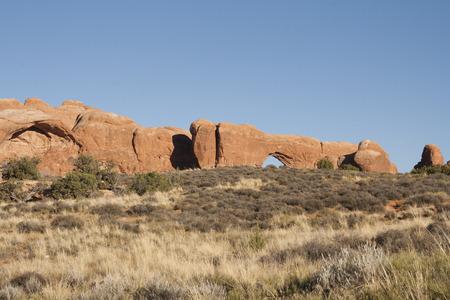 アーチーズ国立公園、ユタ州、アメリカ合衆国の自然なアーチの形成。