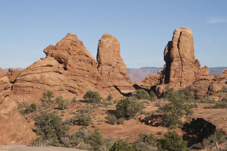 アーチーズ国立公園、ユタ州、アメリカ合衆国で自然の岩の形成。 写真素材 - 84417821