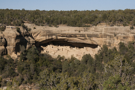 Ruins of ancient dwellings at Cliff Palace, Mesa Verde, Colorado, USA.