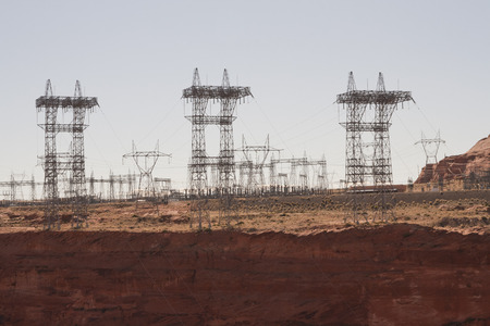 Electric substation on a red rock cliff of Glen Canyon Dam at Page, Arizona. Imagens
