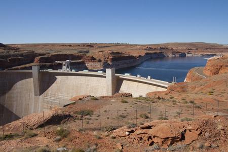 Glen Canyon Dam and Lake Powell at Page, Arizona, USA.