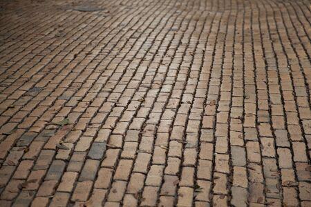 Old pavement of the the streets of a historic quarter in the city of Savannah, Georgia, United States of America.
