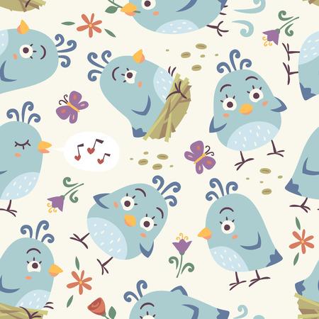 Vettore vettoriale cartoon stile uccelli senza soluzione di continuità