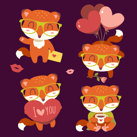 vector valentines day fox with heart set