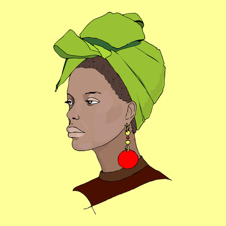 turban: Hand drawn vector illustration of a beautiful african woman wearing turban. Illustration