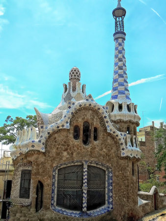Spain, city of Barcelona, house at the entrance to Park Guell Antoni Gaudí Stock Photo