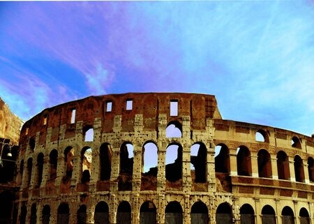 Italy, Rome,The Colosseum or Coliseum, also known as the Flavian Amphitheatre, Construction began under the emperor Vespasian in AD 72,[2] and was completed in AD 80 under his successor and heir Titus.