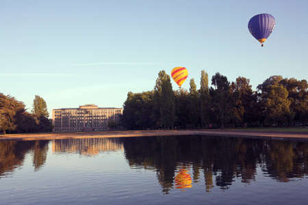 canberra: Hot air balloons over old Parliament house in Canberra ACT
