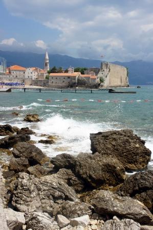 The view of old city Budva, Montenegro                   Stock Photo