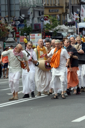 Euro 2012: Hare Krishna dancing on Kiev street Khreshchatyk on June 15, 2012 in Kyiv, Ukraine Editorial