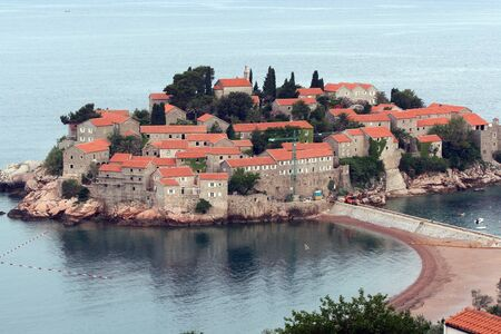 View of Sveti Stefan  St  Stefan  island in Adriatic sea, Montenegro