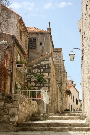 Pictorial scene of courtyard in old town of Croatia, Dubrovnik photo