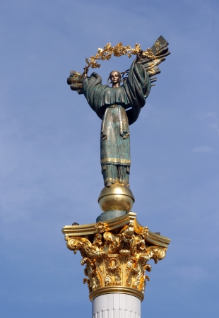 Famous statue on a column in Kyev, Ukraine. Beregynia stands on Maidan Nezalezhnosti (Independence Square) as a symbol of Ukrainian freedom