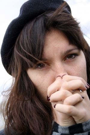 Depressed woman with captive hands  Stock Photo