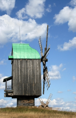 harnessing: A windmill at the heritage village in Pirogovo museum. Kyiv, Ukraine.