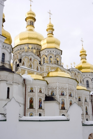 The view on Kiev Pechersk Lavra in winter time  photo