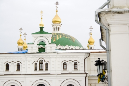 The view on Kiev Pechersk Lavra in winter time. Stock Photo
