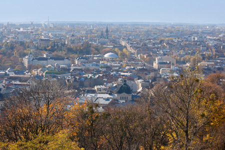 View on the urbal landscape of Lviv in Ukrain.