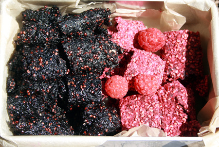 Fruit paste from raspberry and mulberry. Traditional healthy sweets.