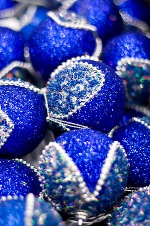 Blue Christmas balls in box. New Year decor. Stock Photo